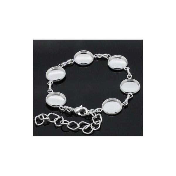 Bracelet 0cm Argent Long 18 Plaqué Cabochon Couleur Supports vmNw8n0