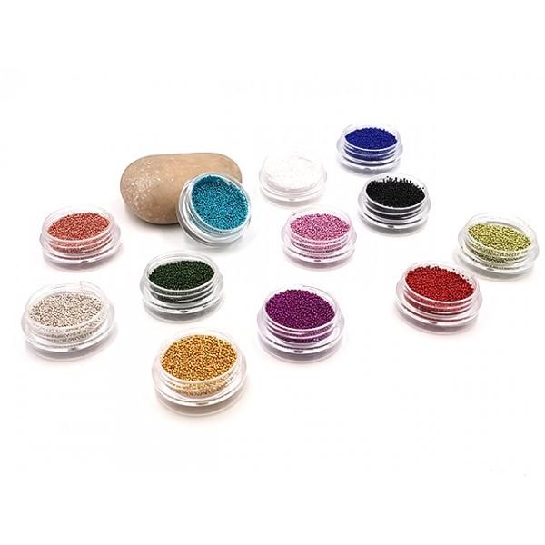 12 Boites De Microbilles En Verre Effet Faux Sucre Multicolores - Photo n°1