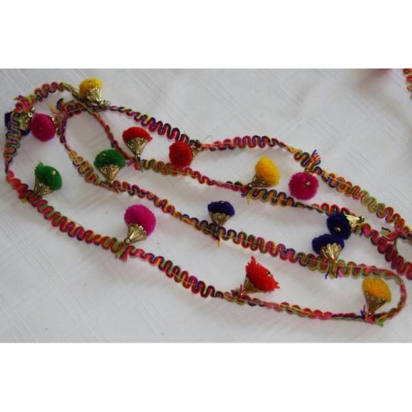 Galon pompons multicolores, ruban pompons . - Photo n°2