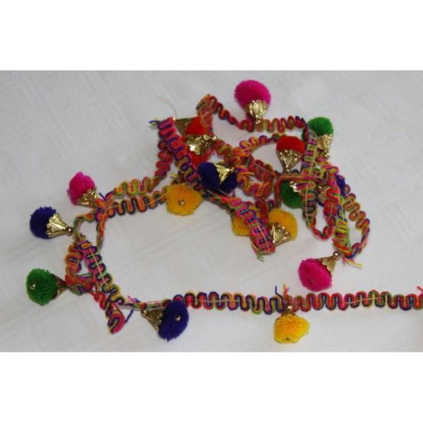 Galon pompons multicolores, ruban pompons . - Photo n°3