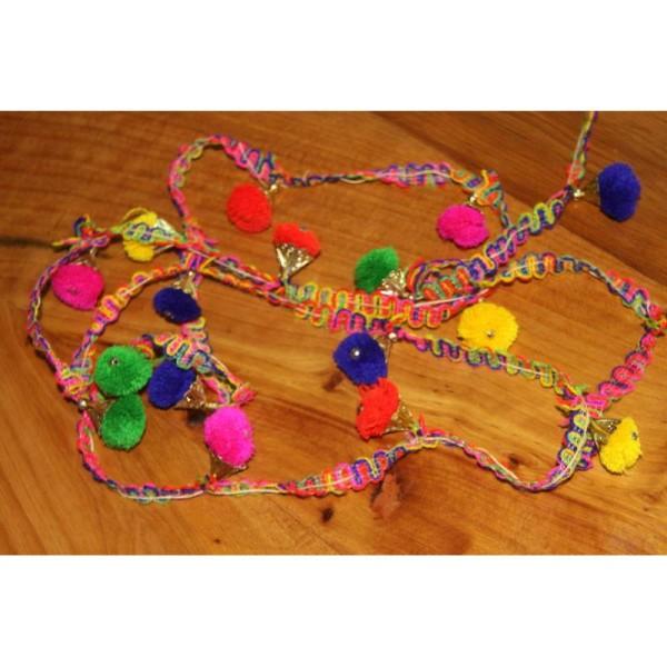 Galon pompons multicolores, ruban pompons . - Photo n°4