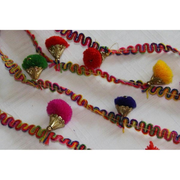 Galon pompons multicolores, ruban pompons . - Photo n°1