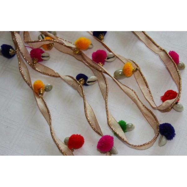 Galon pompons multicolores, ruban pompons avec cauris. - Photo n°2
