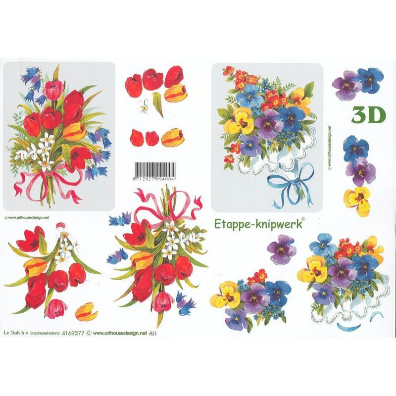 Feuille 3D à découper A4 Bouquet Tulipe pensée - Photo n°1