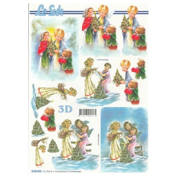 Feuille 3D à découper A4 Anges de Noël - Photo n°1