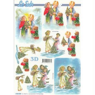 Feuille 3D à découper A4 Anges de Noël