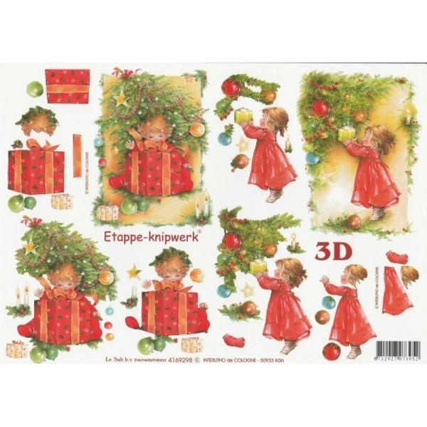 Feuille 3D à découper A4 Fillette Noël - Photo n°1