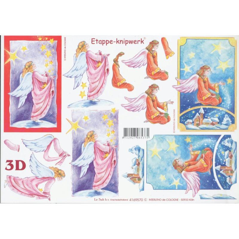Feuille 3D à découper A4 Anges étoile - Photo n°1