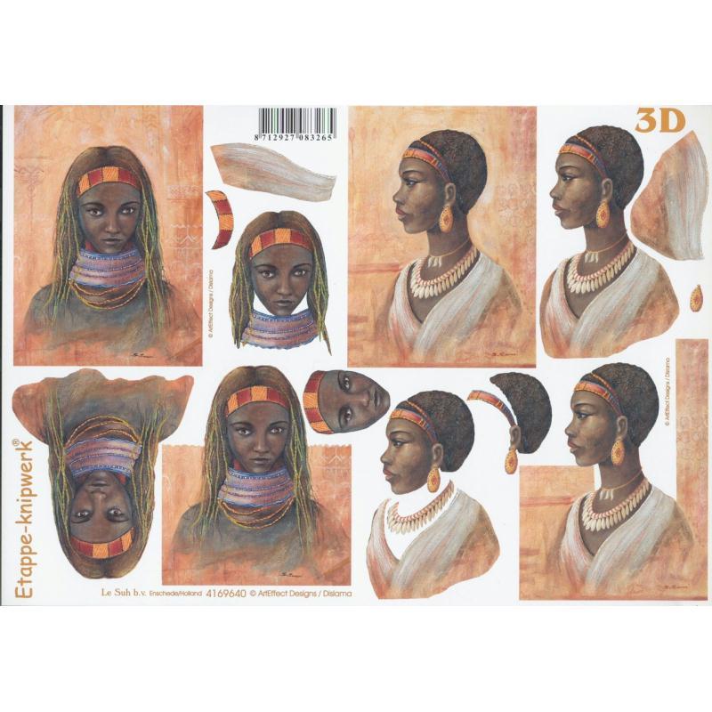 Feuille 3D à découper A4 Africaine - Photo n°1