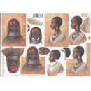 Feuille 3D à découper A4 Africaine