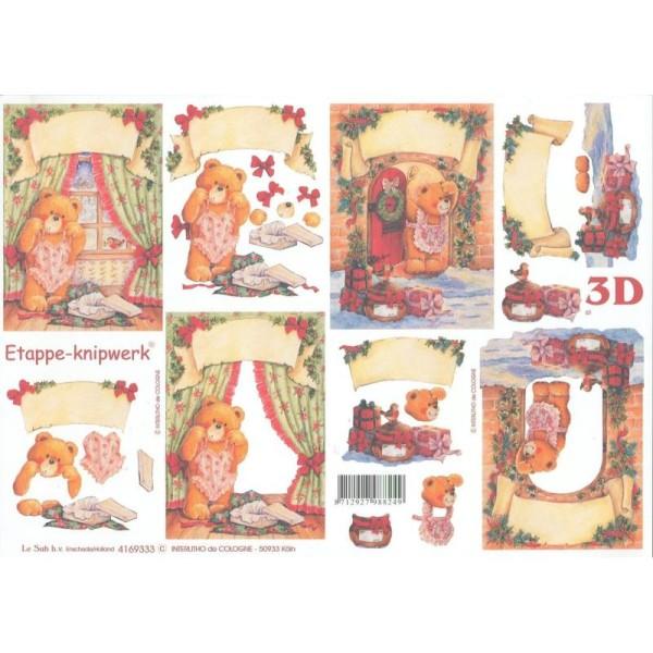 Feuille 3D à découper A4 Nounours Noël - Photo n°1