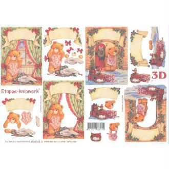 Feuille 3D à découper A4 Nounours Noël