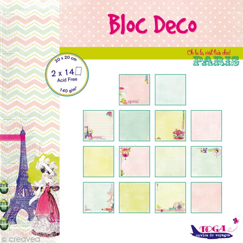 bloc d co toga paris 20 x 20 cm 28 feuilles papier 20x20 creavea. Black Bedroom Furniture Sets. Home Design Ideas