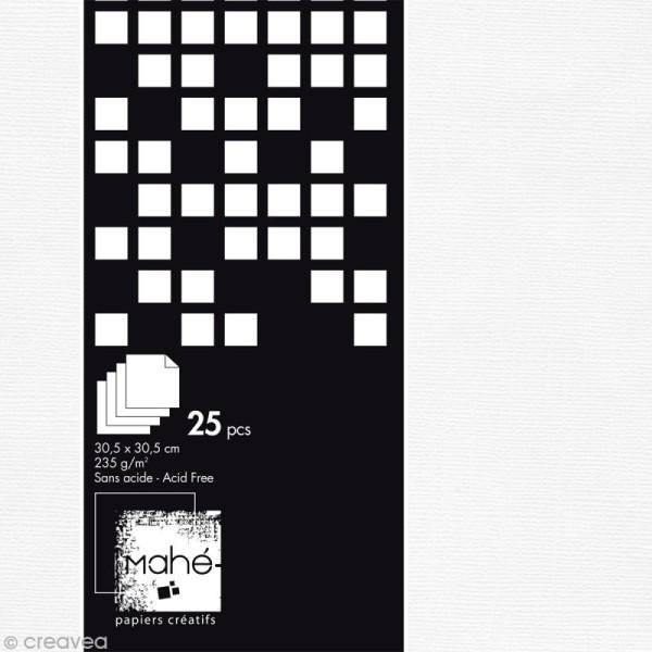 Bloc papier scrap Mahé - Blanc texturé - 30,5 x 30,5 cm - 25 feuilles - Photo n°1