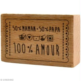 Tampon bois  Naissance - 50% maman 50% papa - 6 x 4 cm