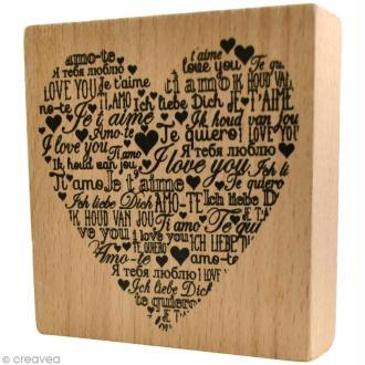 Tampon bois  Amour - Je t'aime multilangues - 8 x 8 cm