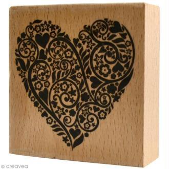Tampon bois  Amour - Coeur volutes - 6 x 6 cm