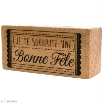 Tampon bois  Divers - Bonne fête Ticket - 6 x 3 cm