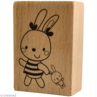 Tampon bois  Naissance - Doudou fille - 3,5 x 5 cm