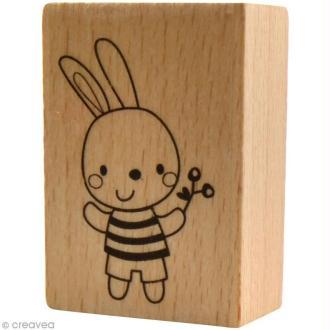 Tampon bois  Naissance - Doudou garçon - 3,5 x 5 cm