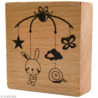 Tampon bois  Naissance - Mobile bébé - 5 x 5,5 cm