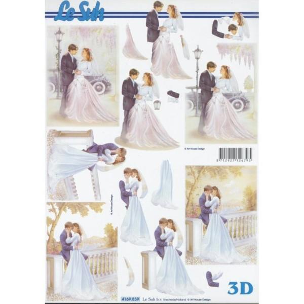 Feuille 3D à découper A4 Mariage Mariés - Photo n°1