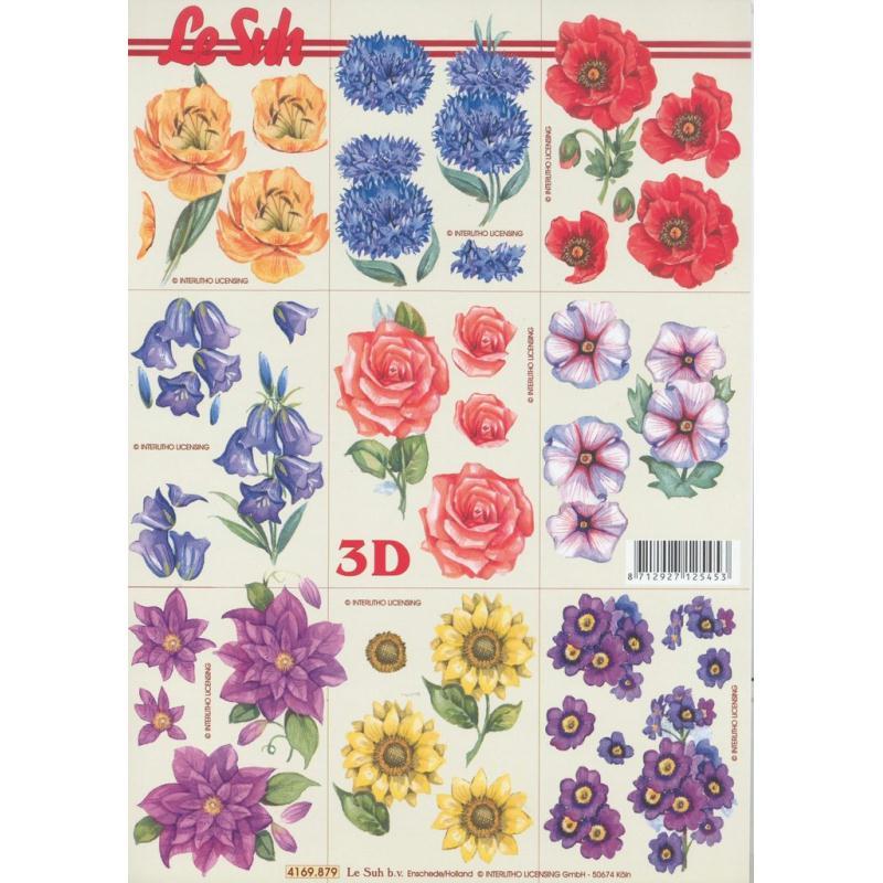 Feuille Mini 3D à découper A4 Fleurs Bleuet Coquelicot Rose - Photo n°1
