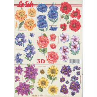 Feuille Mini 3D à découper A4 Fleurs Bleuet Coquelicot Rose
