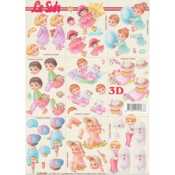 Feuille Mini 3D à découper A4 Naissance bébé - Photo n°1