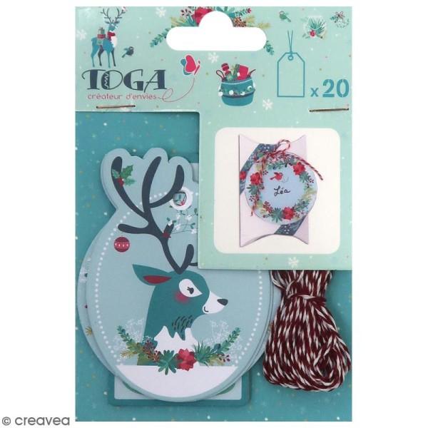 Set étiquettes imprimées et ficelle twine Toga - Renne  - 20 pcs - Photo n°1