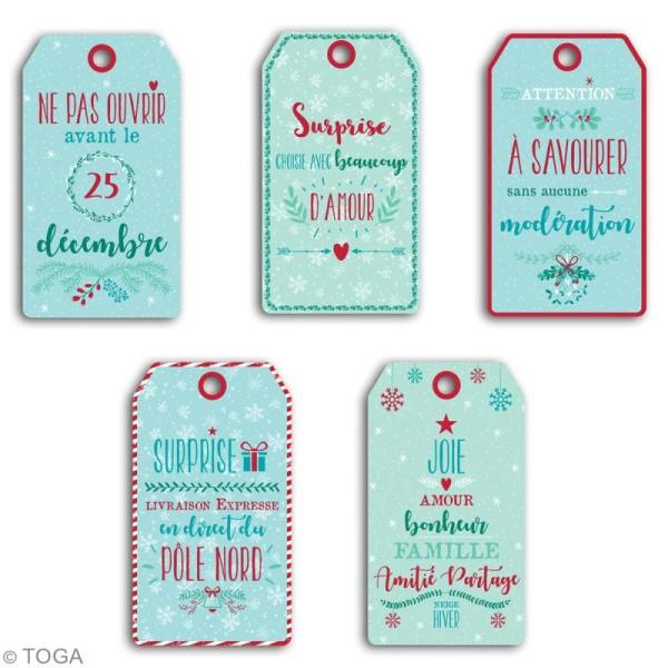 Set étiquettes imprimées et ficelle twine Toga - Noël - 20 pcs - Photo n°3