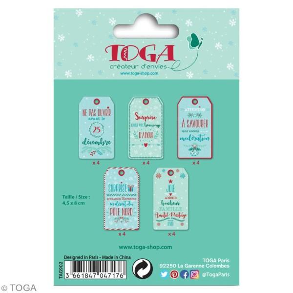 Set étiquettes imprimées et ficelle twine Toga - Noël - 20 pcs - Photo n°4