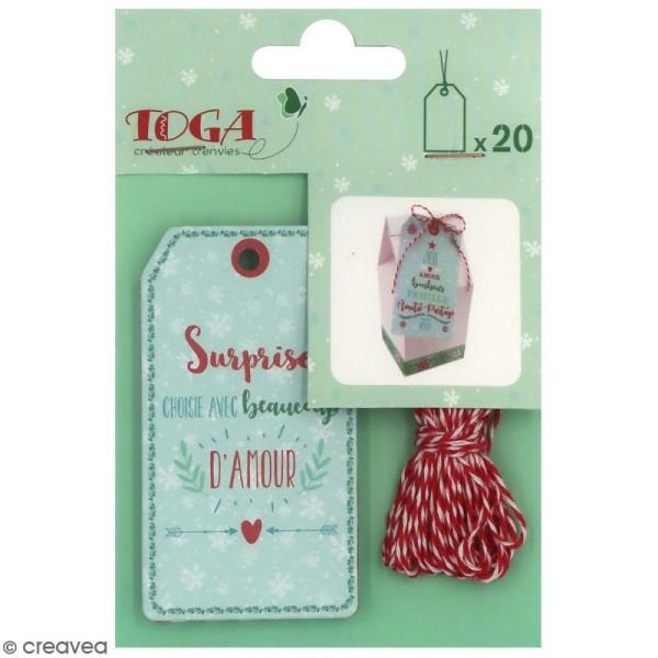 Set étiquettes imprimées et ficelle twine Toga - Noël - 20 pcs - Photo n°1