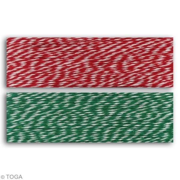 Assortiment ficelle twine bicolore - Rouge et vert - 15 m - 2 pcs - Photo n°2