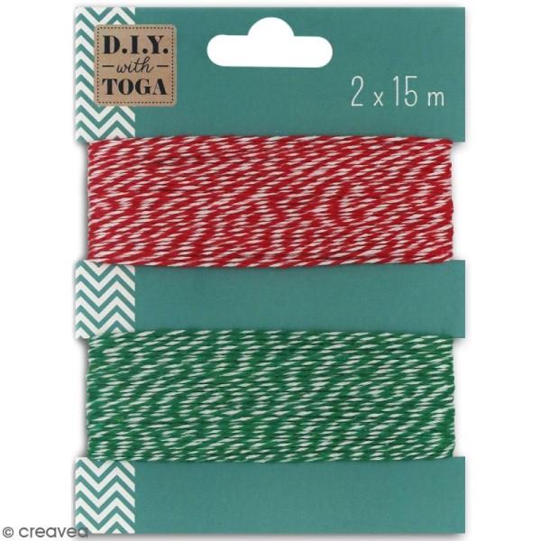 Assortiment ficelle twine bicolore - Rouge et vert - 15 m - 2 pcs - Photo n°1
