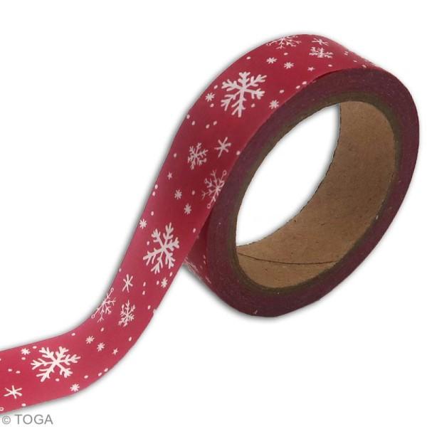 Masking tape Toga - Flocons blancs et rouges - 1,5 cm x 10 m - Photo n°2