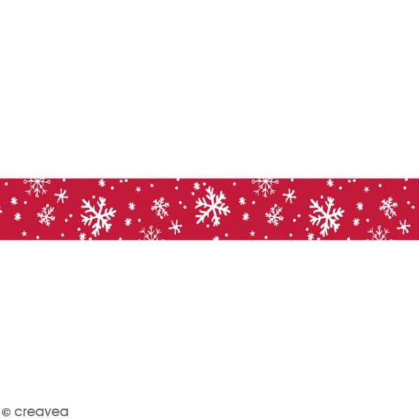 Masking tape Toga - Flocons blancs et rouges - 1,5 cm x 10 m - Photo n°1