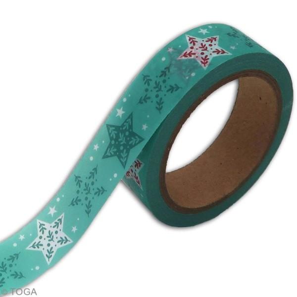 Masking tape Toga - Etoiles vertes et rouges - 1,5 cm x 10 m - Photo n°2