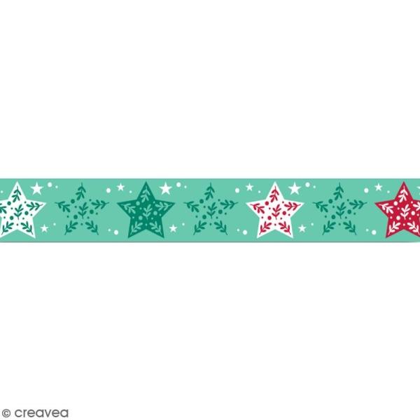 Masking tape Toga - Etoiles vertes et rouges - 1,5 cm x 10 m - Photo n°1