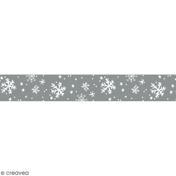 Masking tape Toga - Flocons de neige blancs et argentés - 1,5 cm x 10 m - Photo n°1