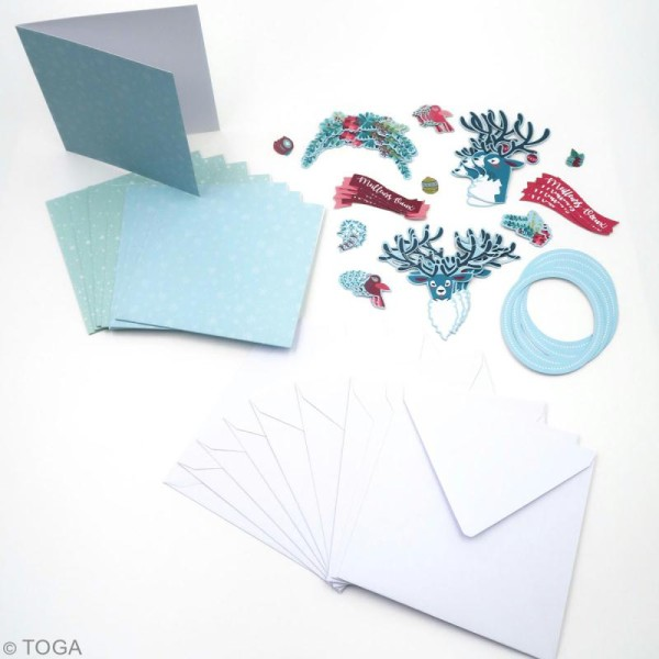 Kit cartes de voeux diy - Renne  - 13,5 x 13,5 cm - 10 pcs - Photo n°3