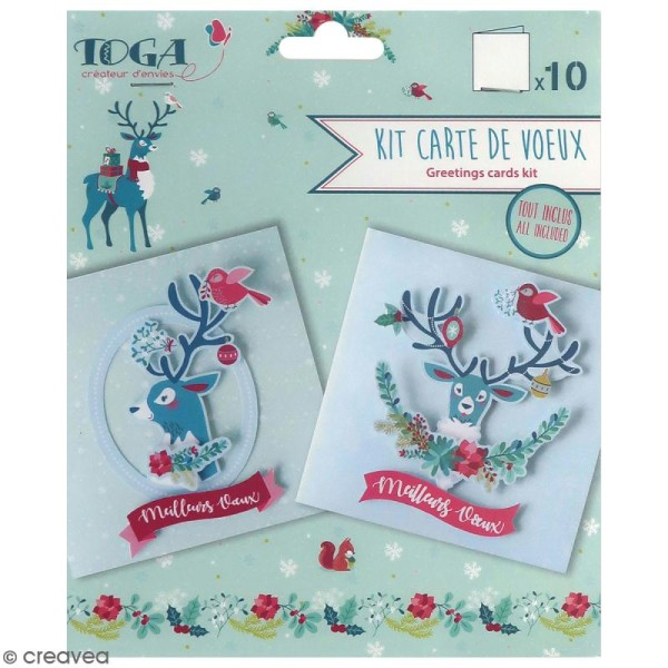 Kit cartes de voeux diy - Renne  - 13,5 x 13,5 cm - 10 pcs - Photo n°1