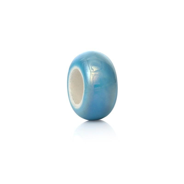 10 Perles à Gros Trou au Style Européen en Céramique Plat-Rond bleu Env. 13 x 6mm - Photo n°1