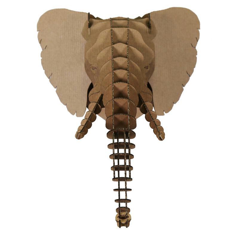 Troph e t te d 39 elephant en carton brun m 27x35x28 animatomy lightbox creavea - Tete d elephant mural ...