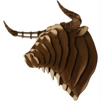 Trophée Tête de Taureau en Carton brun XL 37x33x27 Animatomy