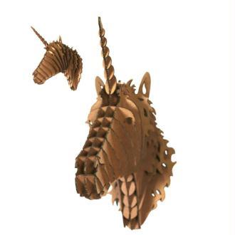 Trophée Licorne en Carton brun M 12x24x21 Animatomy