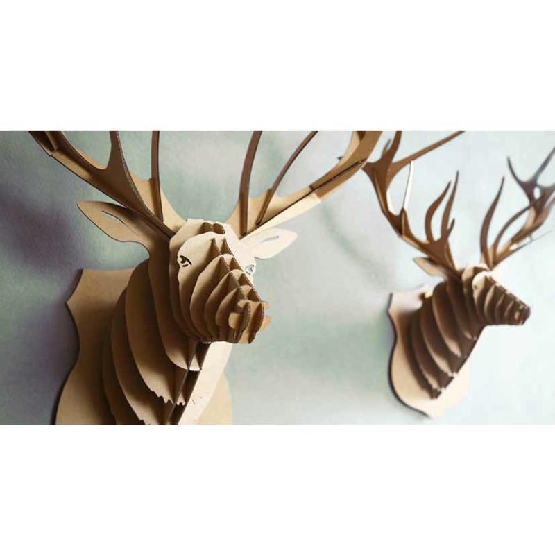 troph e t te de cerf en carton brun xxl 74x82x42 animatomy lightbox creavea. Black Bedroom Furniture Sets. Home Design Ideas