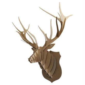 Trophée Tête de Cerf en Carton brun XXL 74x82x42 Animatomy