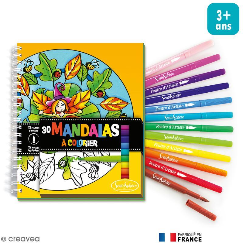 Kit coloriage Mandalas pour enfant - Carnet de coloriage