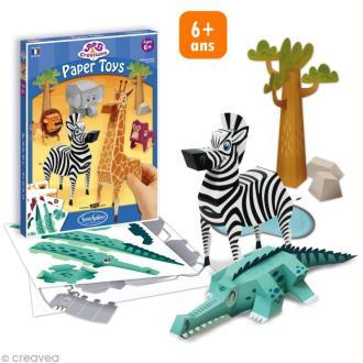 Jeu créatif Paper Toys - Animaux savane en papier